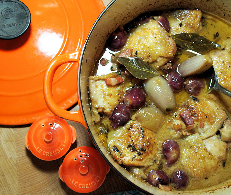 Le Creuset Guest Recipe Post Chicken With Black Grapes And Marsala Sauce