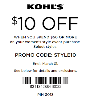 Kohls coupon $10 off $50 Women's and Juniors' Clothing