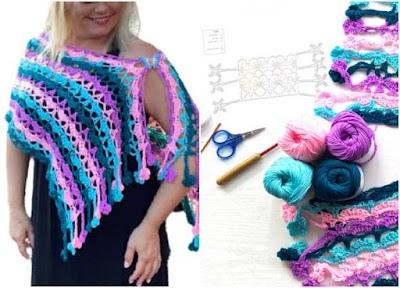 Echarpe crochet flecos florales proyecto para principiantes