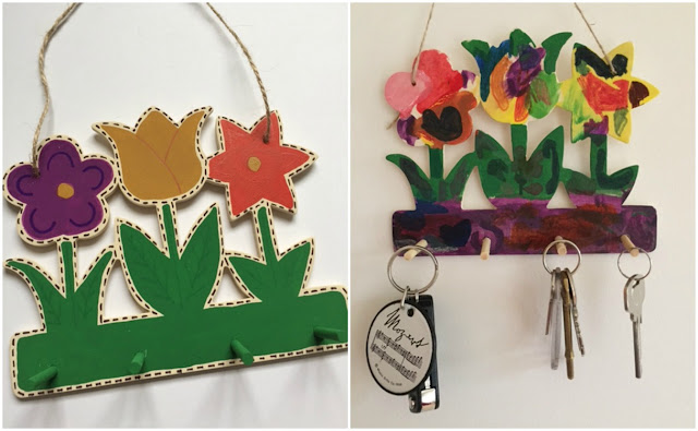 Painted wooden keyring holder from Baker Ross