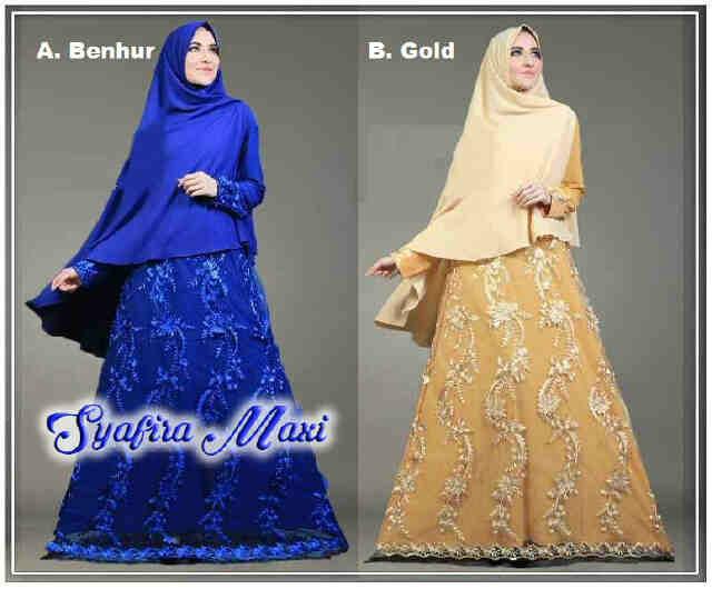 Pusat Grosir Baju Wanita Gamis Muslimah Syafira Maxi 081704