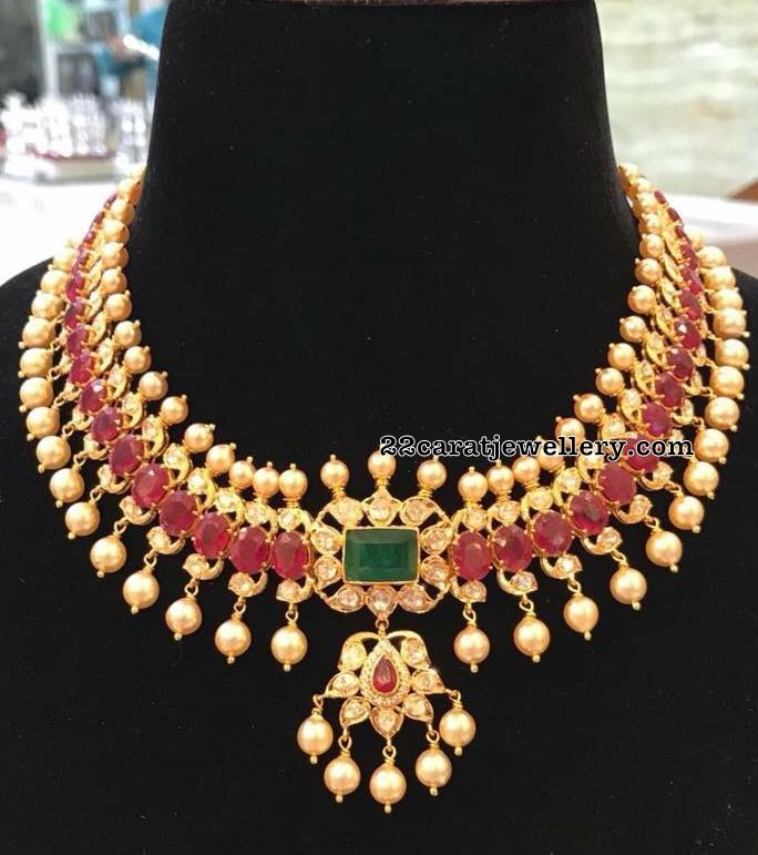 74b825c38ebee Ruby Pearl Necklace by SRJ Jewellery - Jewellery Designs