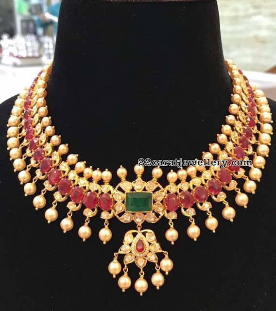 Ruby Pearl Necklace by SRJ Jewellery