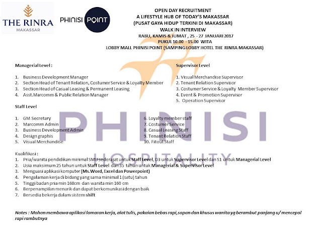 Lowongan Kerja Phinisi Hospitality Makassar
