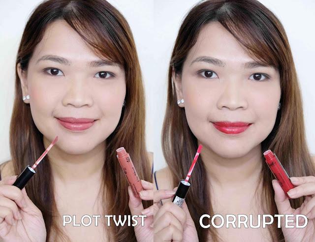 一张光滑的化妆照片,唇彩回顾在阴影情节扭曲和腐败。