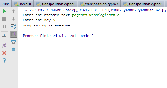 CODE IT TO RULE IT !!: Transposition Cipher (Decrypt)