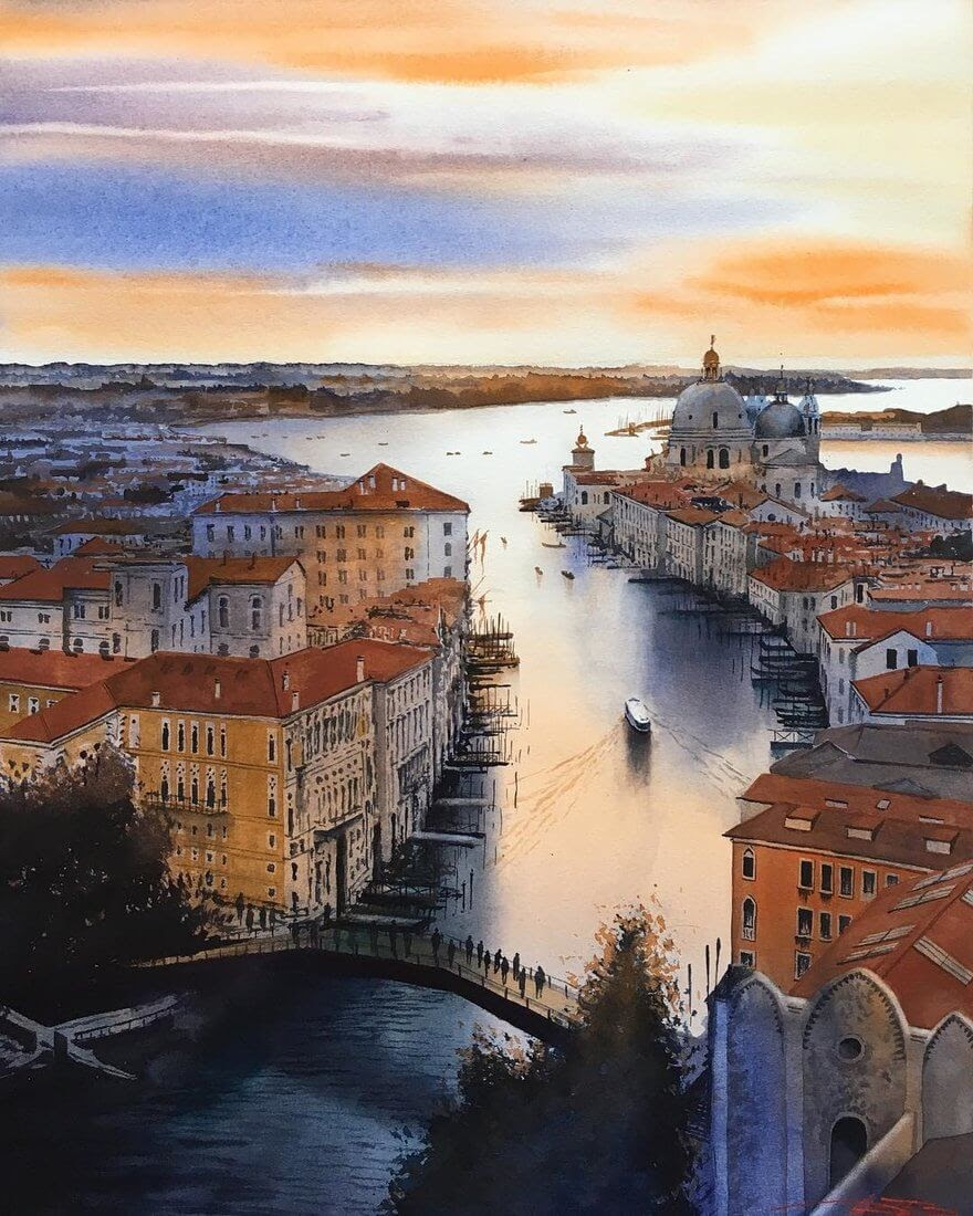 07-Canal-Grande-Igor-Dubovoy-Realistic-Urban-Watercolor-Paintings-www-designstack-co