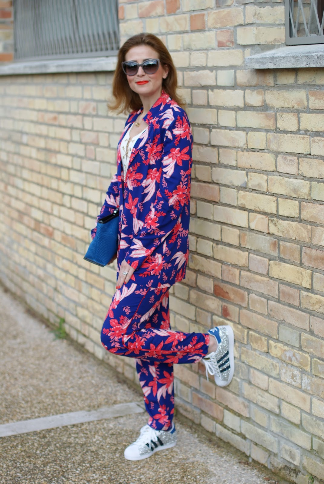 The pyjama trend and lace up top with adidas glitter sneakers on Fashion and Cookies fashion blog, fashion blogger style