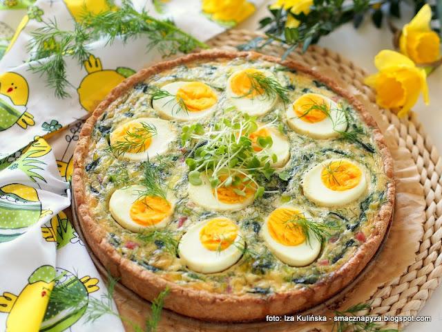 placek z farszem, tarta wytrawna, wielkanocne sniadanie, wielkanocne przepisy, wielkanoc, quiche, farsz szpinakowo jajeczny, jajka, szpinak, zapiekanka z jajkami i zielenina, zapiekanka wielkanocna