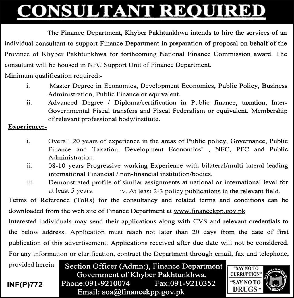 Latest 2018  Consultant Jobs in Finance Department Govt of KPK , Today Announced Vacanices