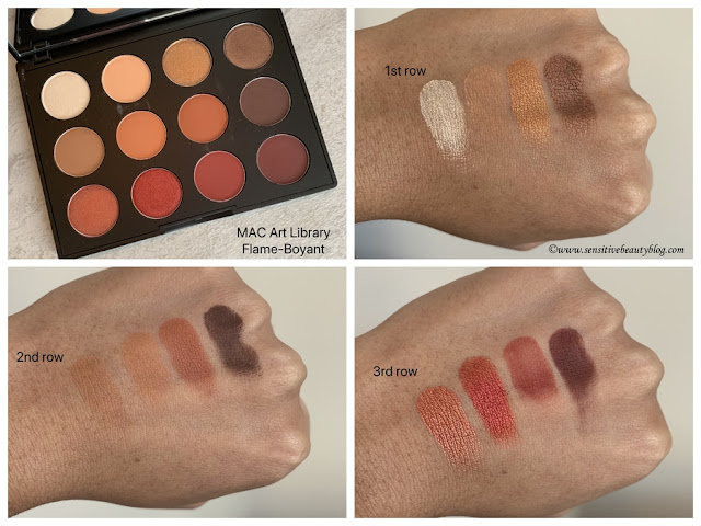 MAC Art Library Flame-boyant swatches on dark skin