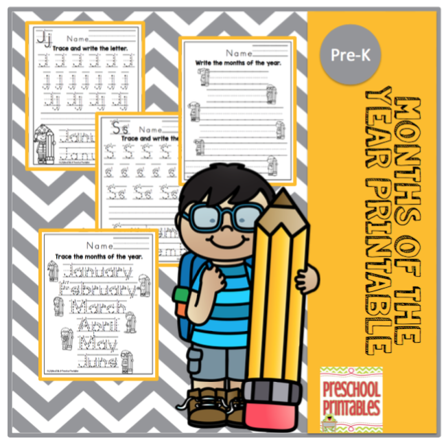 picture about Printable Months of the Year for Preschool named Weeks of the Yr Printable No Prep ~ Preschool Printables