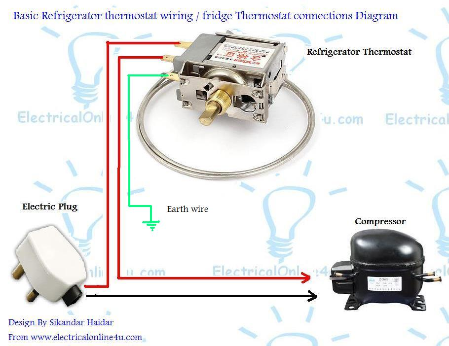 refrigerator fridge thermostat wiring diagram guide electrical rh electricalonline4u com danfoss fridge thermostat wiring diagram fridge thermostat wiring guide