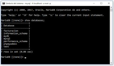 Consultar las bases de datos mysql desde consola