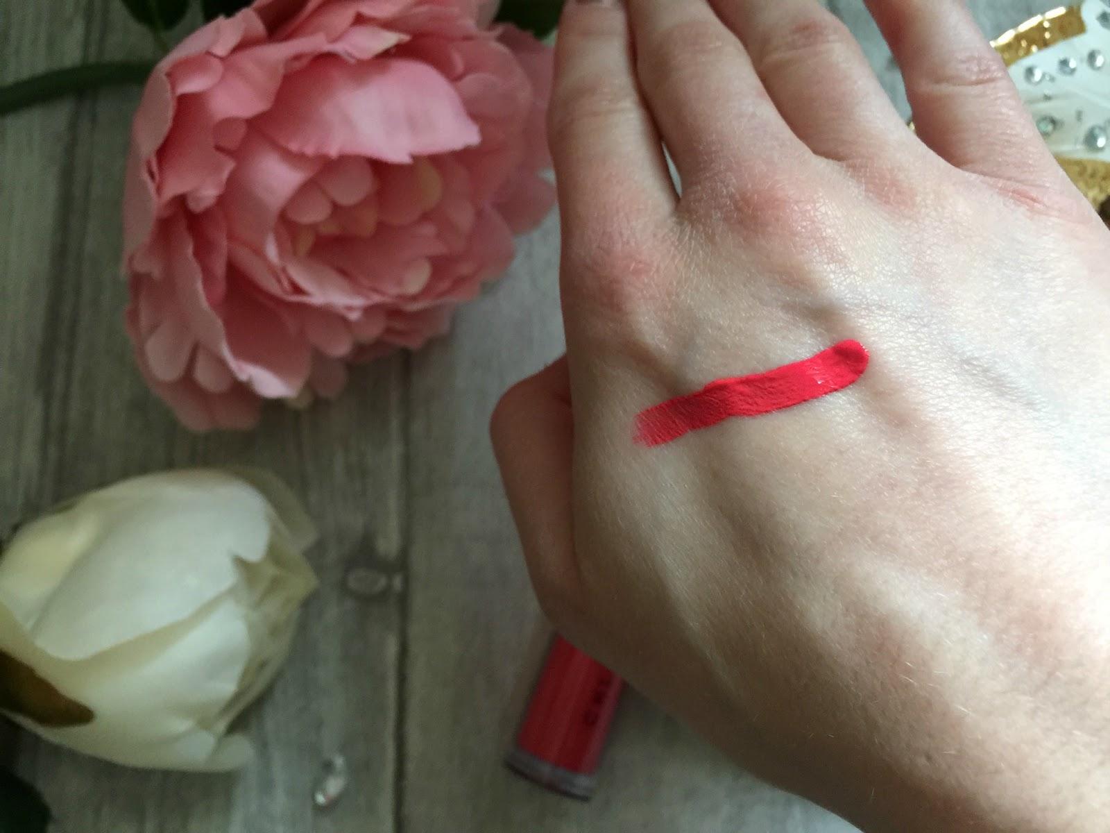 by chloe ferry liquid lipstick in rose swatch