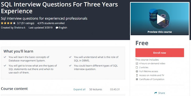 [100% Free] SQL Interview Questions For Three Years Experience