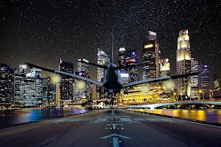 aeroplane, flight, night