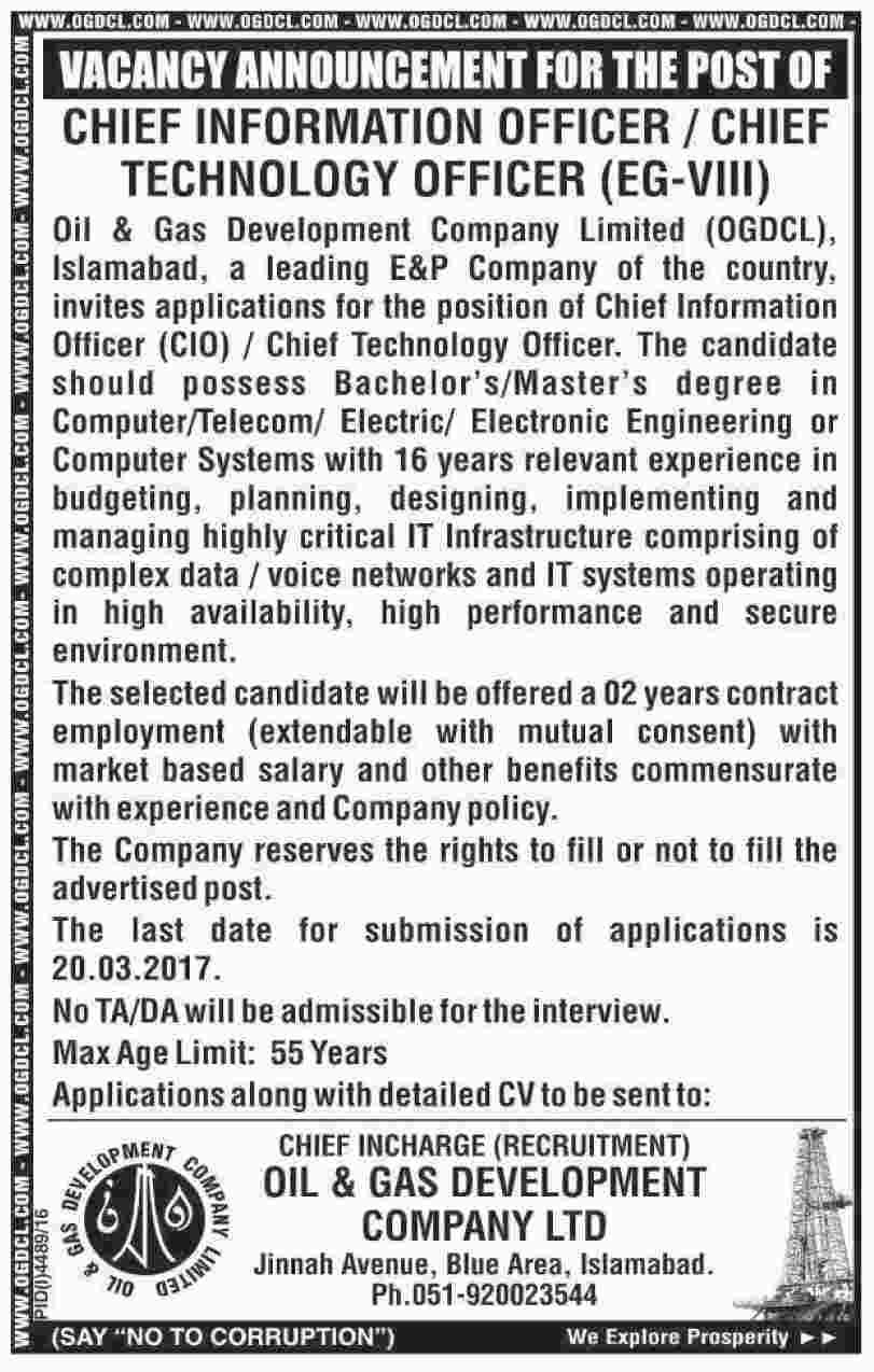 Oil & Gas Development Company Limited Islamabad Jobs 1 Mar 2017