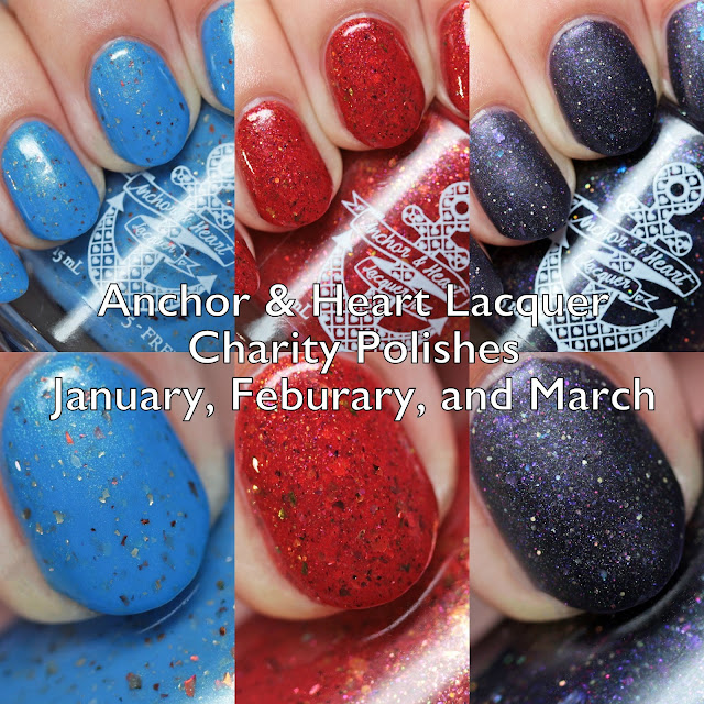 Anchor & Heart Lacquer January, February, and March Charity Polishes