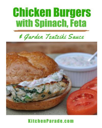 Chicken Burgers with Fresh Spinach, Feta and Garden Tzatziki Sauce ♥ KitchenParade.com, Greek-style chicken sandwiches served with an updated Greek tzatziki sauce. High Protein. Weight Watchers Friendly.