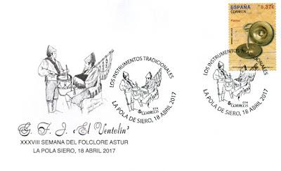 """Sobre con el matasellos de la Semana del Folclore Astur en Pola de Siero de """"El Ventolín"""""""