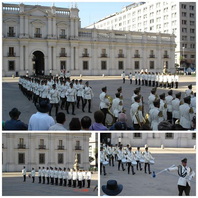 Troca de guarda no Palacio de la Moneda, Santiago, Chile
