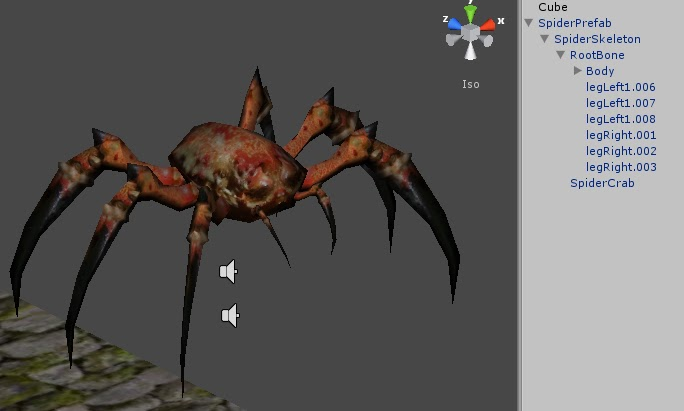 Setting up custom ragdoll for 3d Spider model in Unity 3d