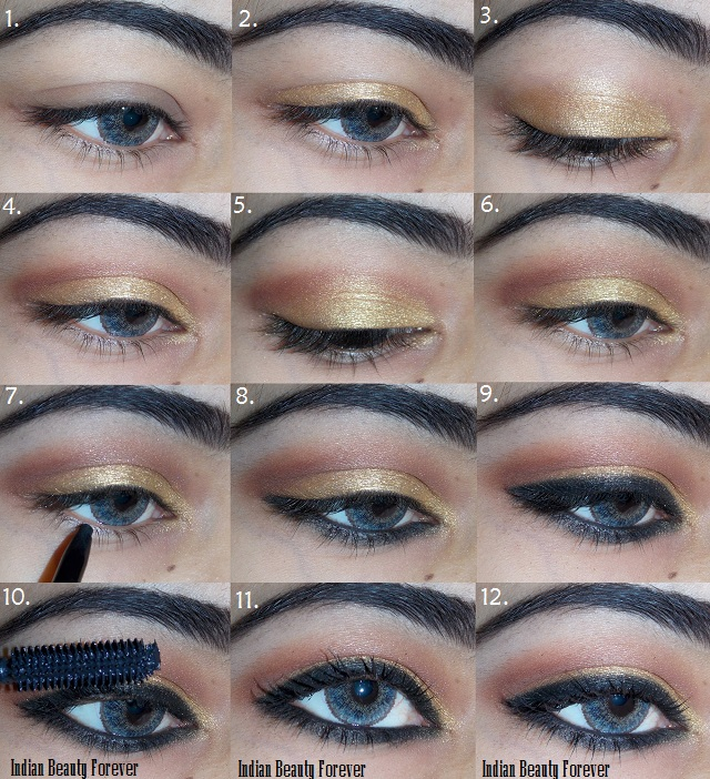 Kohl rimmed soft smokey gold eye makeup tutorial