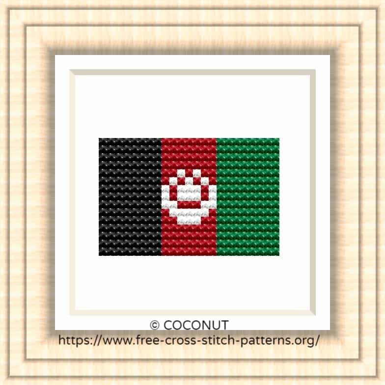 National flag of  Afghanistan Cross stitch chart