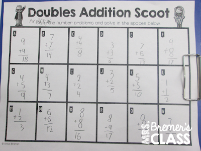 FREE math doubles addition Scoot activity