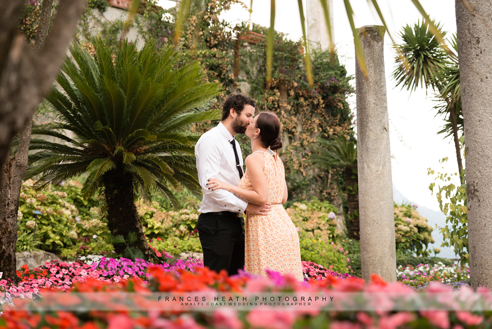 Engaged couple in Ravello gardens