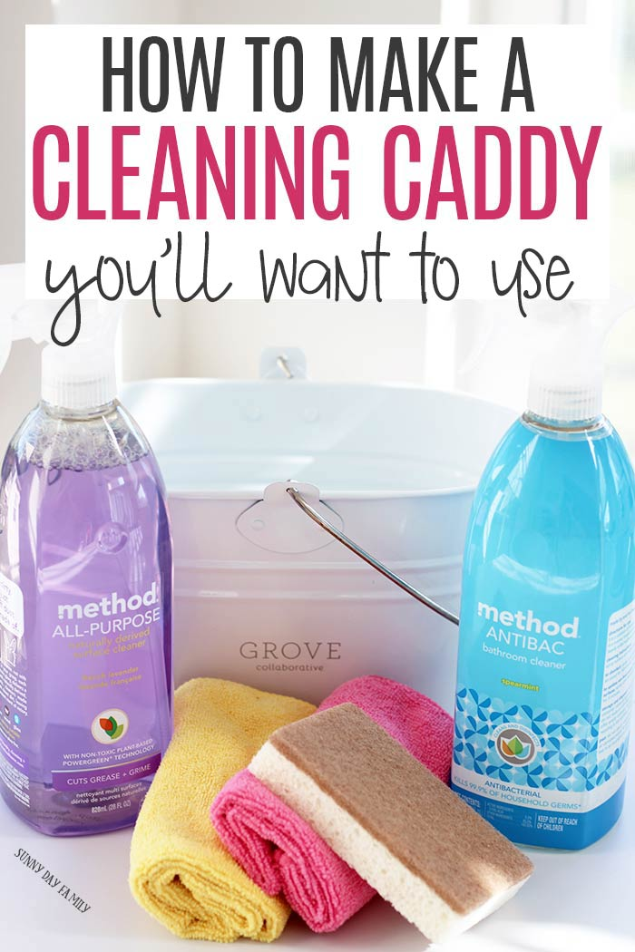 Make a portable cleaning caddy to clean everyday messes! See how to make a cleaning caddy, cleaning essentials, house cleaning tips, and more. #cleaning #cleaningtips #cleaninghacks #cleanhome