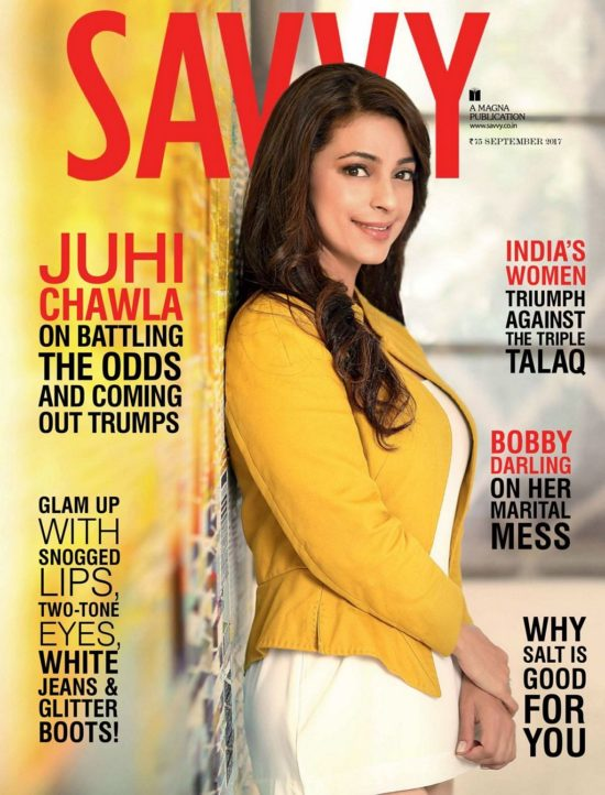 Juhi Chawla On The Cover of Savvy Magazine India September 2017