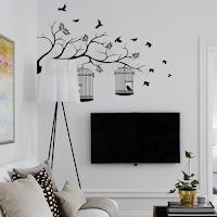 vinilo decorativo pared rama jaula pajaros
