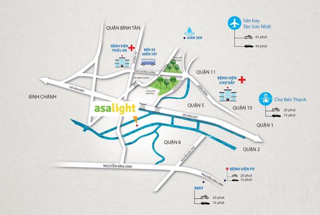 Căn hộ Asa Light Quận 8 tọa lạc tại vị trí đắc địa