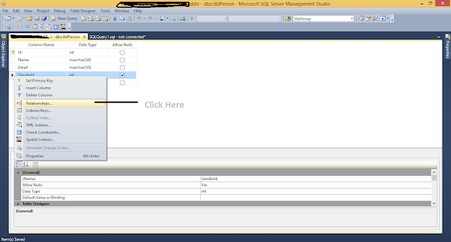 Selecting Relationship Option from Context Menu in SQL Server