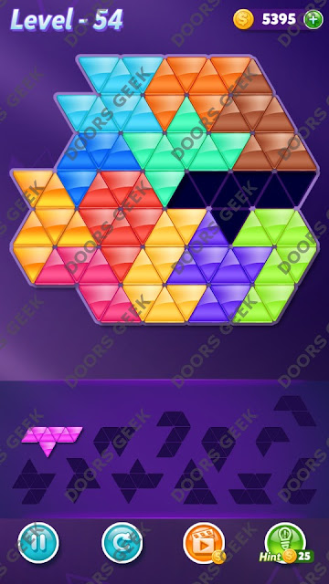 Block! Triangle Puzzle Grandmaster Level 54 Solution, Cheats, Walkthrough for Android, iPhone, iPad and iPod