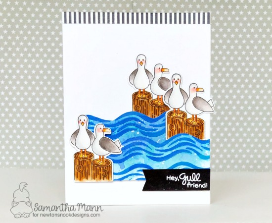 Seagull Card by Samantha Mann | Gull Friends Stamp Set and Waves Stencil by Newton's Nook Designs #newtonsnook #handmade