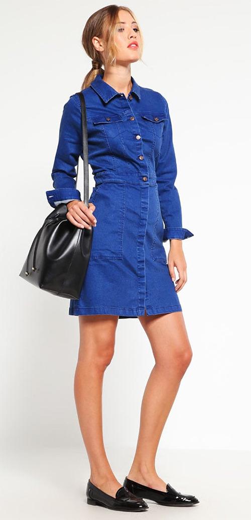 Robe courte en jean bleu manches longues TOM TAILOR DENIM