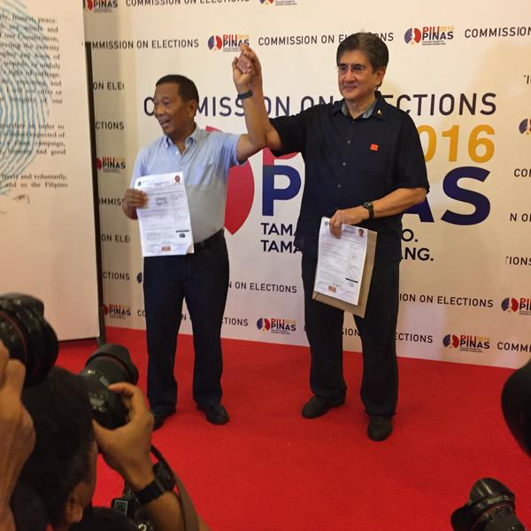 Binay and Honasan tandem files CoC for 2016 elections