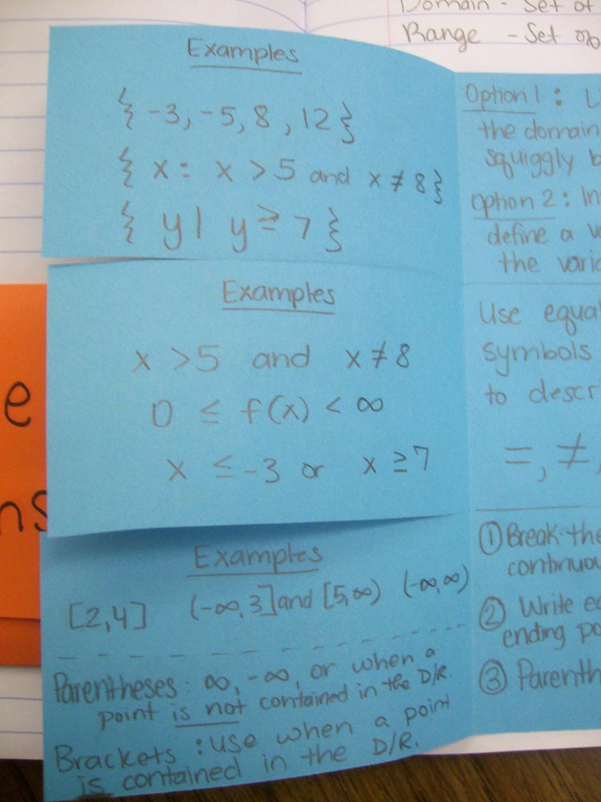 Math = Love: Domain and Range Notation Foldable