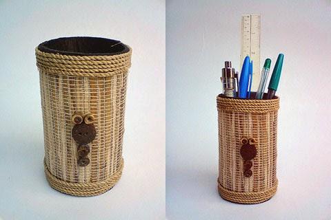 tempat pensil kerajinan tangan dari kulit jagung