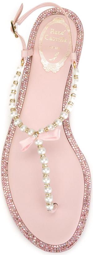 RENE CAOVILLA Embellished Thong Sandals Pink