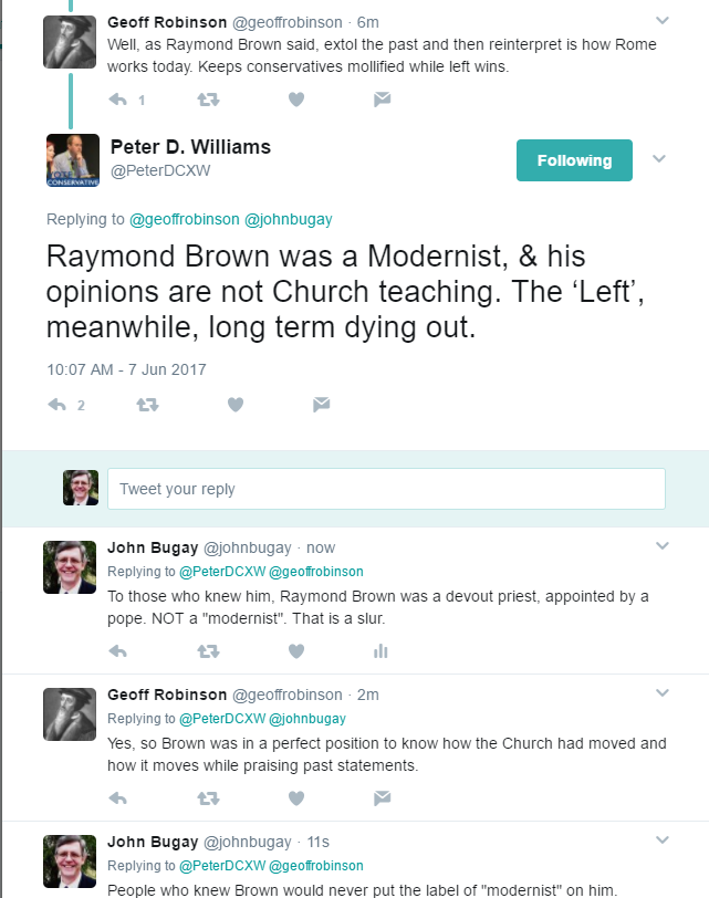 Raymond Brown is not a modernist