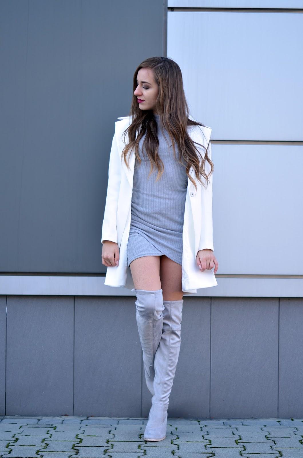 biały płaszcz stylizacja