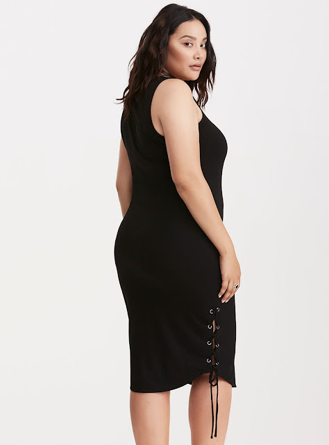 Plus Size Jersey Knit Lace Up Bodycon Dress in Black by Torrid