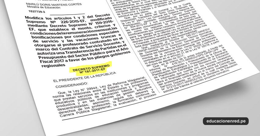 MINEDU aumenta el sueldo a Docentes Contratados a partir de agosto 2017 (D. S. Nº 191-2017-EF)