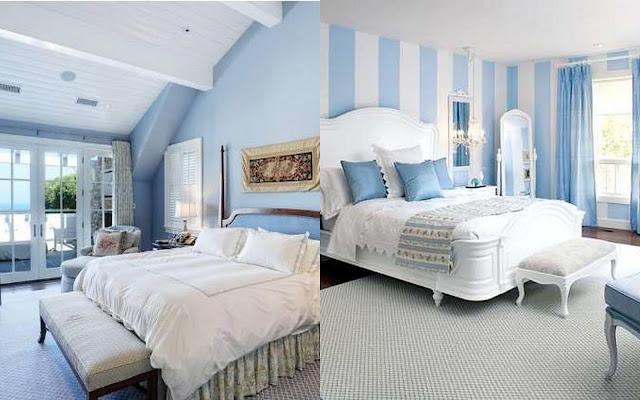 mavi beyaz yatak odasi
