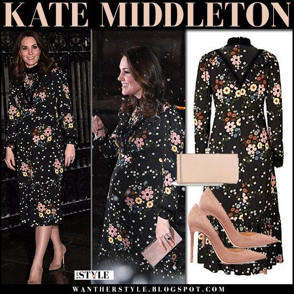 Kate Middleton in black floral print midi dress orla kiely fashion royal family february 28