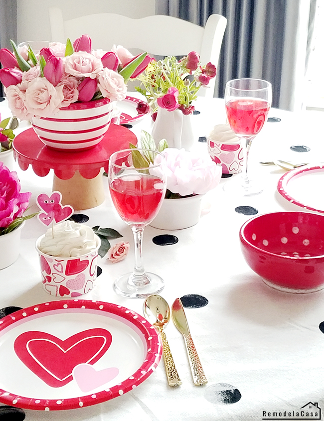 polka dots red white and black table for v-day